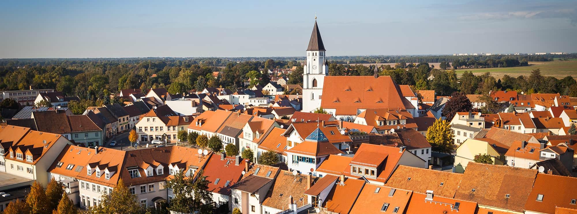 Blick vom Brauereischornstein in Richtung Marktplatz