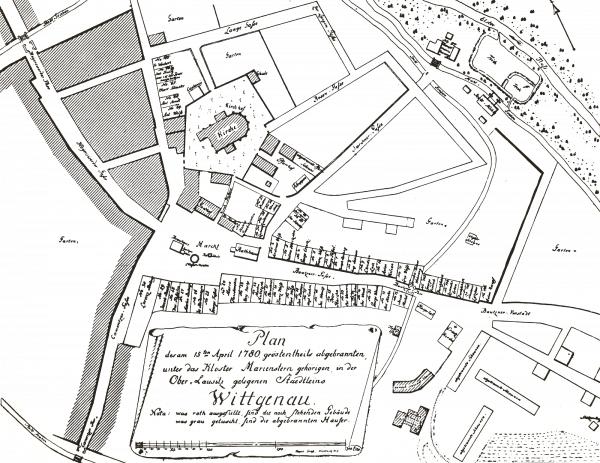 Im Stadtplan, welcher nach dem Brand von 1780 erstellt wurde, ist die Lage der drei Stadttore und des Wallgrabens ersichtlich. Quelle: Archiv der katholischen Pfarrgemeinde Wittichenau