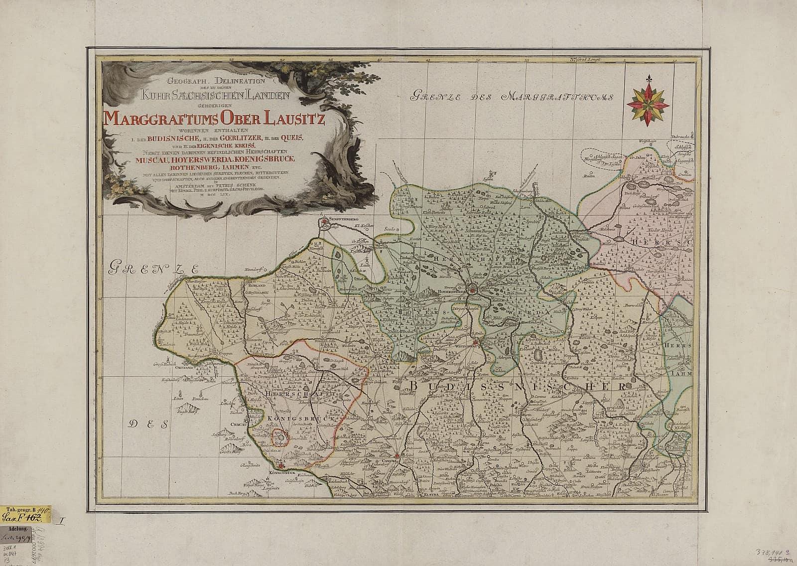 Ausschnitt Karte der Oberlausitz, Kupferstich von Adam Friedrich Zürner, 1759