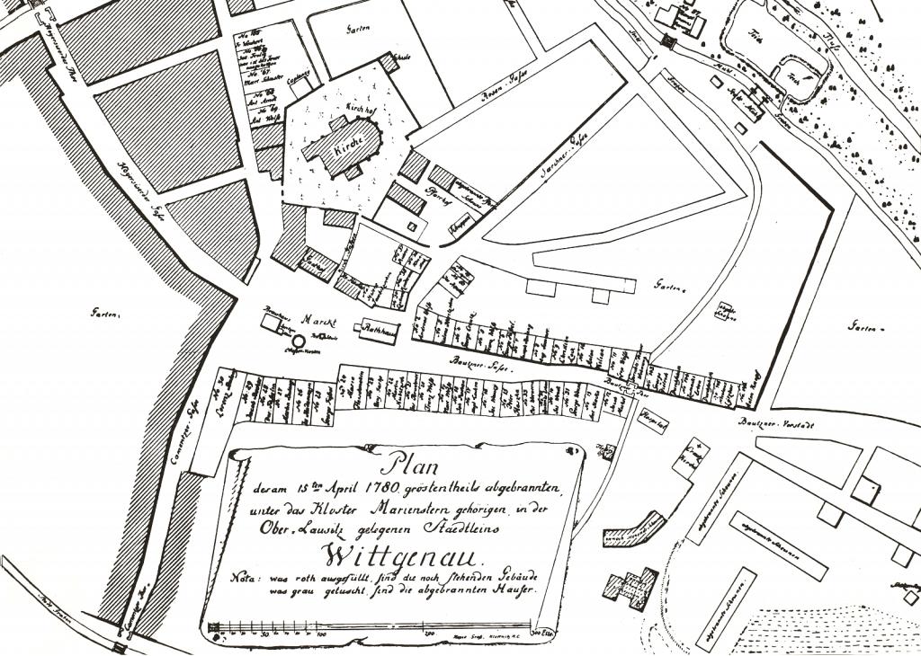 Stadtplan Wittichenau 1780
