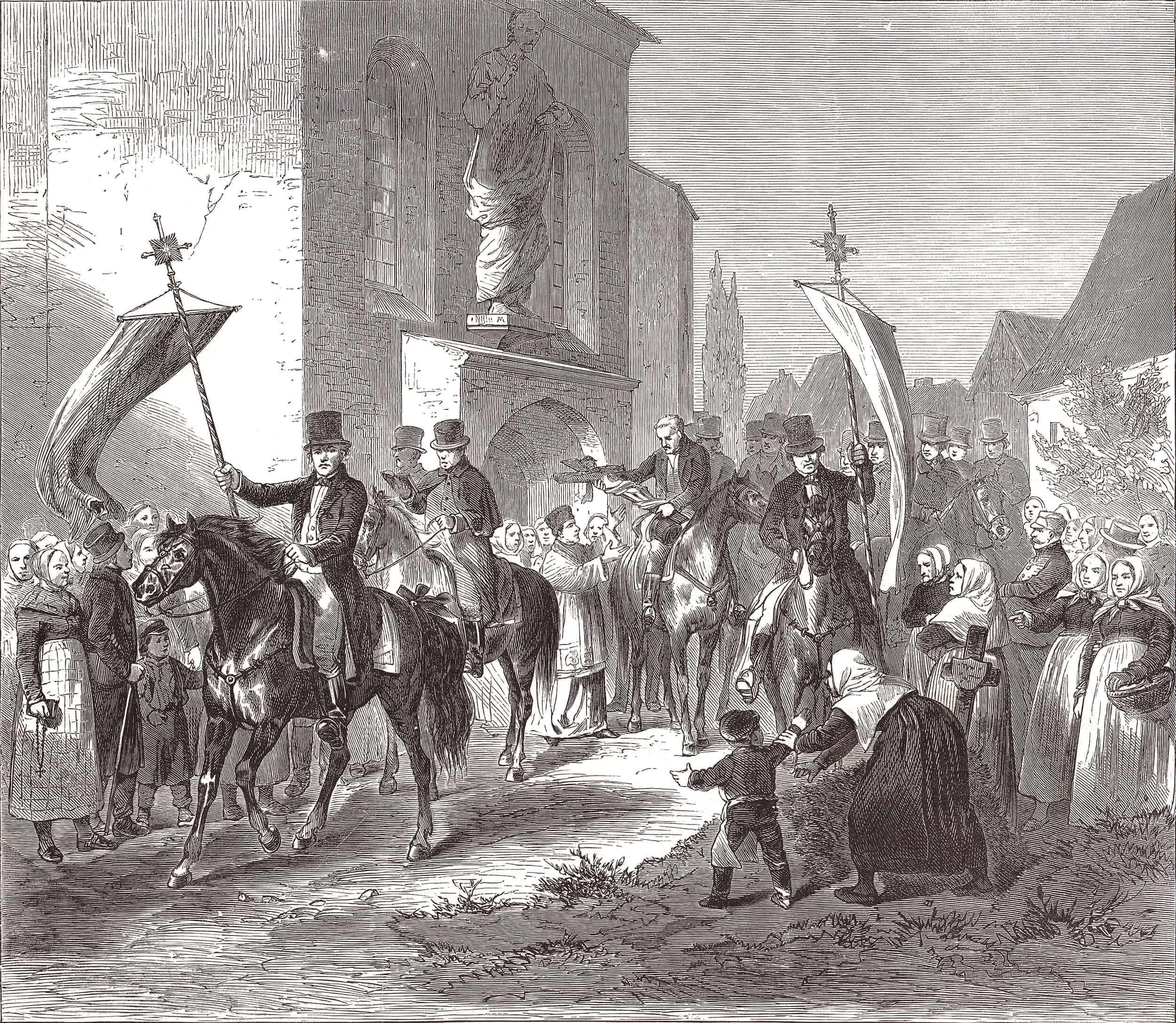 Kreuzreiten in Wittichenau nach einer Zeichnung von Gustav Müller